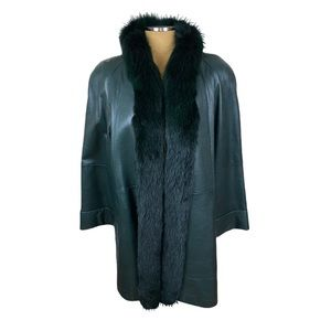 VTG Hunter Green Leather Coat with Fox fur Trim